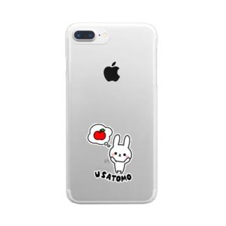 うさともスマホケース(リンゴとりたい) Clear smartphone cases