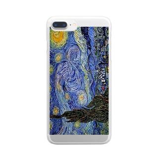 ゴッホ「星月夜-糸杉と村-」 Clear smartphone cases