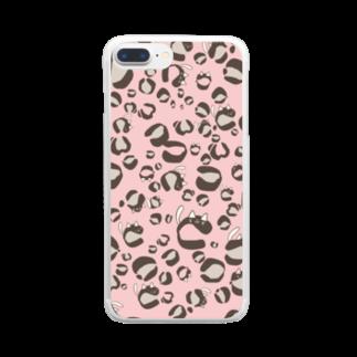 イラストレーター yasijunのひょう柄猫ちゃんピンク Clear smartphone cases