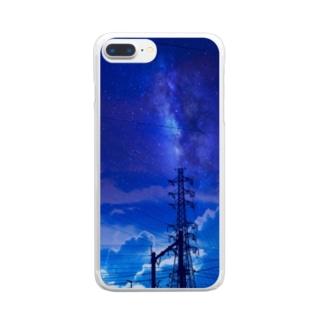 真夜中の送電線 Clear smartphone cases