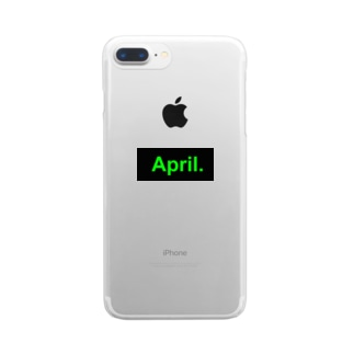 April.BOX LOGO(グリーン×ブラック) Clear smartphone cases