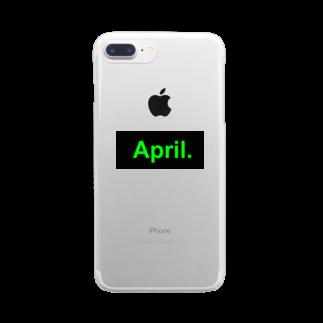April.のApril.BOX LOGO(グリーン×ブラック) Clear smartphone cases