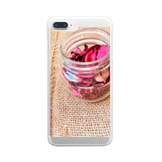 麻袋&赤い花2 Clear smartphone cases
