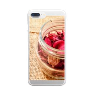麻袋&赤い花3 Clear smartphone cases