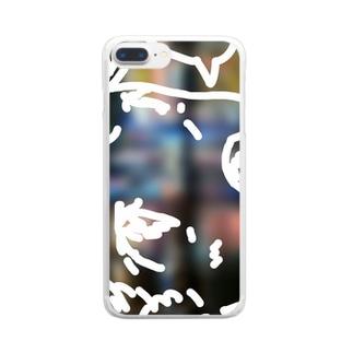 吹き出しのあるキャラクター(街の風景) Clear smartphone cases
