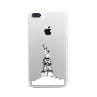 """Travel series """"ニューヨーク"""" Clear smartphone cases"""