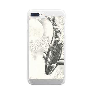 月下の鯉 Clear Smartphone Case