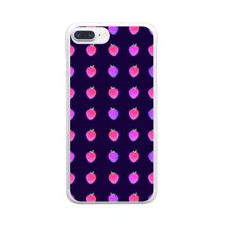 いちご(濃紺) Clear smartphone cases