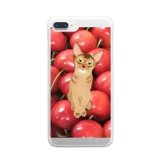 アビにゃんとサクランボ Clear smartphone cases