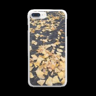 shizukusanの棚のアスファルトと葉っぱ Clear smartphone cases