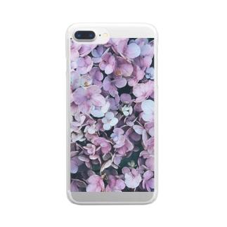 庭の紫陽花 Clear smartphone cases