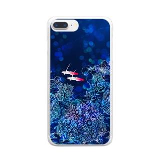 ハタタテハゼのペア Clear smartphone cases