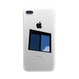 窓からオバケくん Clear smartphone cases