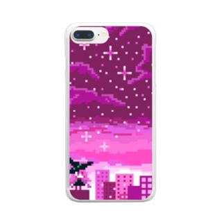 ヨアケノマジョ(ピンク) Clear smartphone cases