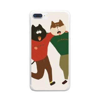 猫と犬は仲良し Clear smartphone cases