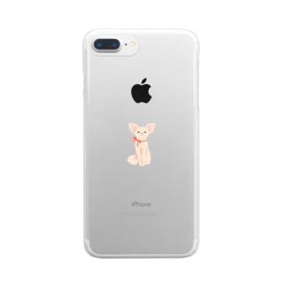 リボンを巻いたチワワ Clear smartphone cases