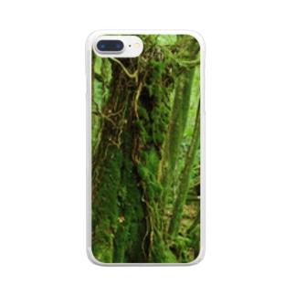 屋久島の苔むす世界 Clear smartphone cases