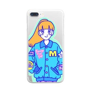 コーチジャケットガール Clear smartphone cases