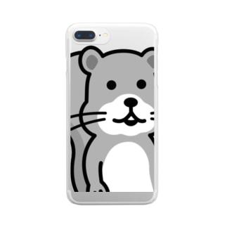 何食べようか考えてるリスくん(モノクロ) Clear smartphone cases