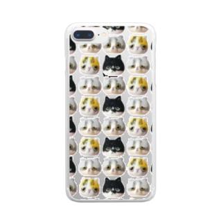 「羊毛フェルトな猫」 総柄 Clear smartphone cases