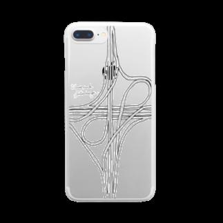 Rakushigeショップの対向ループ型インターチェンジ Clear smartphone cases