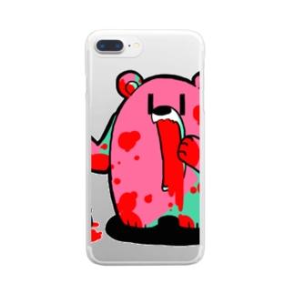 ザクロ大好きひぐまくん(ショッキング) Clear smartphone cases