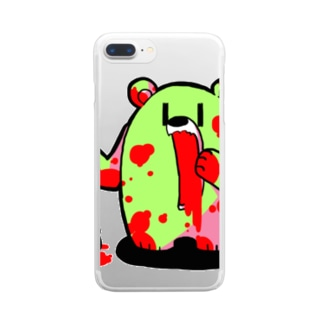 ザクロ大好きひぐまくん(けいこう) Clear smartphone cases