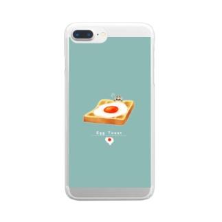 エッグなトースト猫 Clear smartphone cases