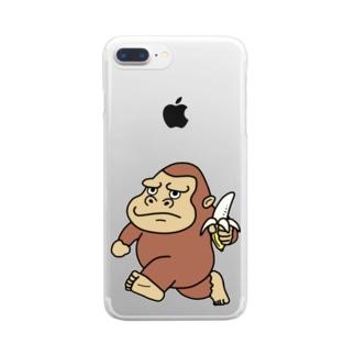ゴリラのウホホイ Clear smartphone cases