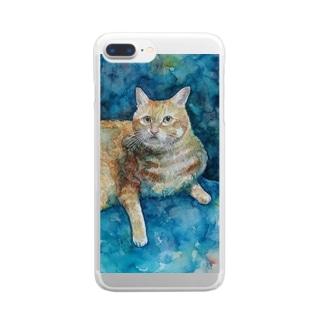 にゃんたろす水彩画 Clear smartphone cases