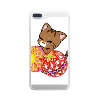 鞠つきにゃんこ Clear smartphone cases