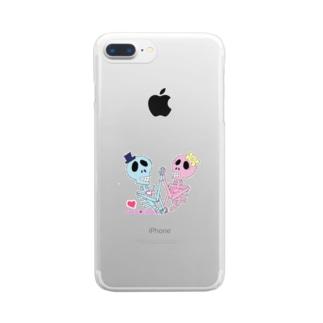 ドクロの二人 Clear smartphone cases