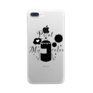 モノクロ スプレー Clear smartphone cases
