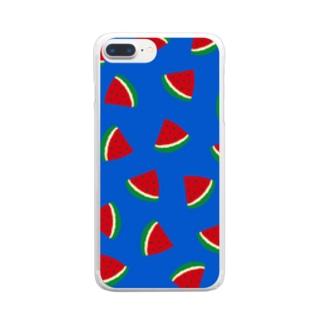 スイカいっぱい Clear smartphone cases