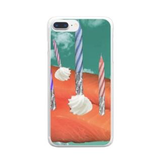 お刺身のおケーキ Clear smartphone cases