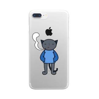 喫煙ねこ Clear smartphone cases