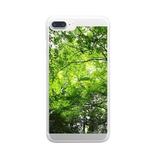 癒しの緑 Clear smartphone cases