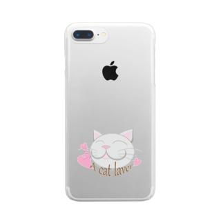 幸せ猫 Clear smartphone cases