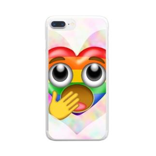 カラフルなハートちゃん♥️ Clear smartphone cases
