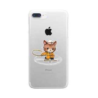 ロープ応用登はん結索にゃんこ Clear smartphone cases
