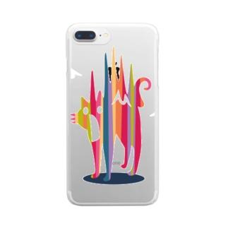 びっくり猫 Clear smartphone cases