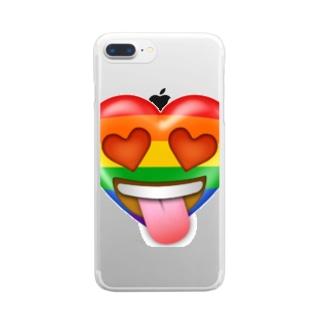 ハートちゃんの目がハート💕 Clear smartphone cases