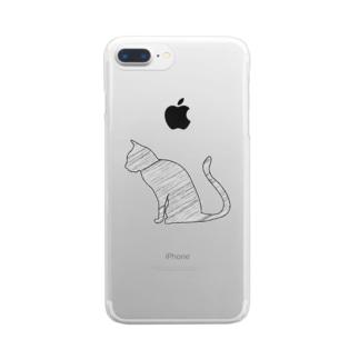 線の猫 Clear smartphone cases