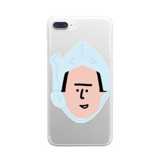 ほっかむり男 Clear smartphone cases
