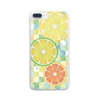 シトラス ソーダ (レモン ライム グレープフルーツ/クリア) Clear smartphone cases