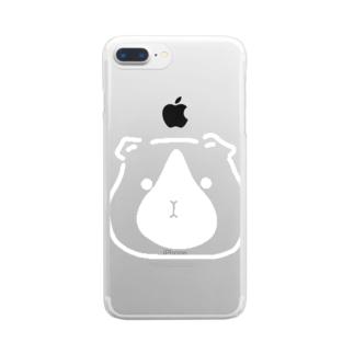 ぽったりモルモット まっしろはなしずくVer. Clear smartphone cases