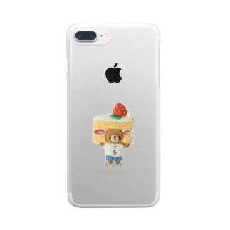 ショートケーキが好きすぎるくま Clear smartphone cases