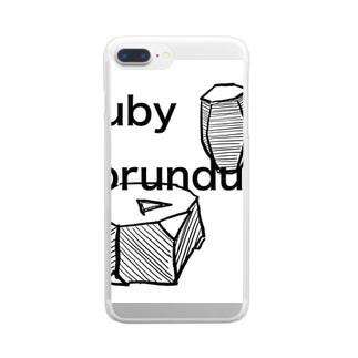 コランダムの結晶原石の晶癖 Clear smartphone cases