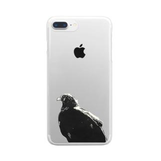 ワシ(モノクロ) Clear smartphone cases