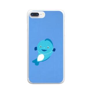 青いお魚さん Clear smartphone cases